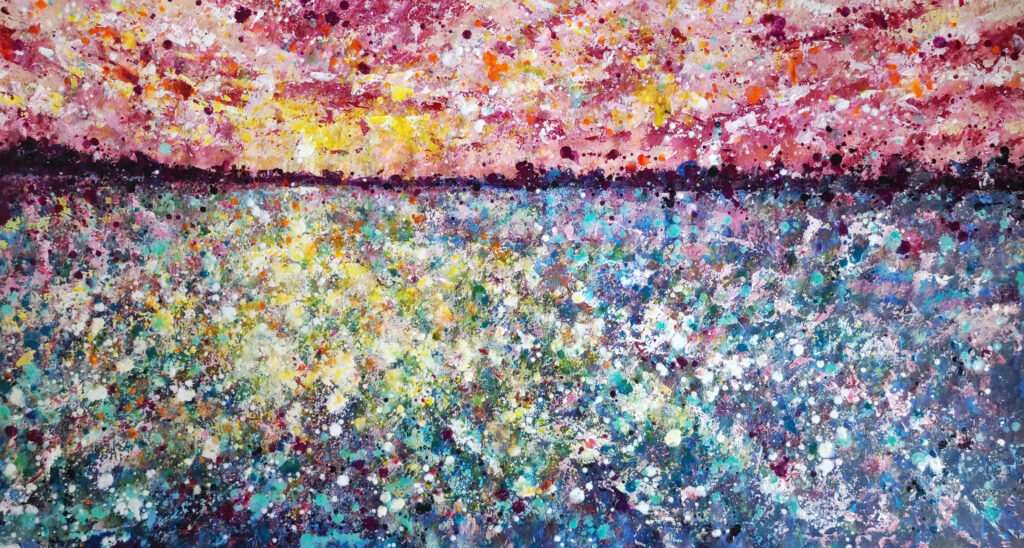sunset painting abstract art siho-art